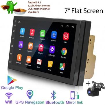 """Radio de ultima generación 2DIN Universal Marca HOFFMANN, pantalla 7"""", Procesador 4 Nucleos (32+2), Android 9.1 con GPS-BT-USB-WIFI-Camara Retro (EN STOCK)"""