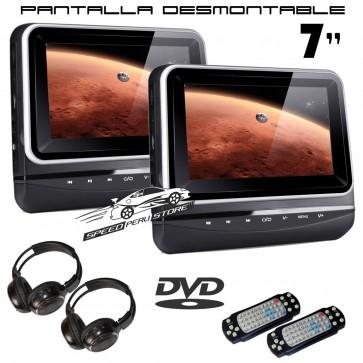 """Combo 2 Pantallas para cabezal Táctil-plana de 7"""" con Lector de DVD + Juegos, USB SD (IMPORTACION 7D) BORDE SILVER"""