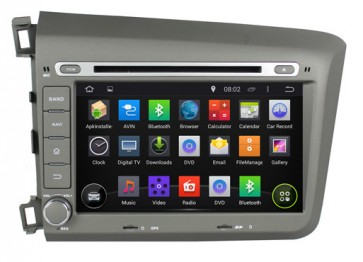 "Autoradio homologado HONDA CIVIC 2012-2013, Procesador de 8 nucleos con sistema operativo Android 6.0.1 - Pantalla 8"" + Camara Retro, DVD-TV-GPS-BT-USB-SD-WIFI (Importación 10D)"