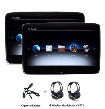 "Par de pantallas de 11.6"" - Tecnologia Smart 4K -para cabecera, marca ROTHMANN con Sistema Android 9 con Wi-Fi, Bluetooth, HDMI, USB + 2 Auriculares Inalambricos"