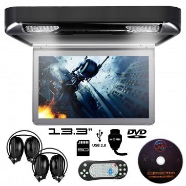 """Combo pantalla de techo 13.3"""" con Lector de DVD + Audifonos Inalambricos + Juegos +HDMI USB SD MARCA XTRON  (IMPORTACION 7D)"""