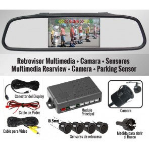 Combo Camara Retroceso + Espejo retrovisor universal + Sensores de retroceso marca GENIUS (G-VPS01-RC43)