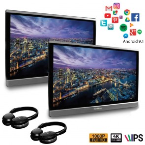 """Par de pantallas para cabecera de 12.5"""" marca ROTHMANN con sistema ANDROID 9.1 Wifi, Hdmi, USB, bluethooth + auriculares"""