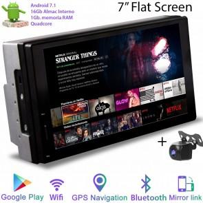 "Radio de ultima generación 2DIN Universal Marca ROTHMANN, pantalla 7"", Procesador 4 Nucleos (16+1), Android 7.1 con GPS-BT-USB-WIFI-Camara Retro (EN STOCK)"
