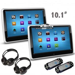 """Combo 02 Pantallas para cabezal Táctil-plana de 10.1"""" con Lector de DVD + 2 Audifonos Inalambricos + Juegos, USB, SD (IMPORTACION)"""