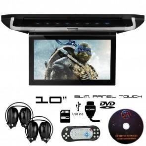 "Combo Pantalla Slim de techo 10"" con Lector de DVD, panel tactil + Audifonos Inalambricos + Juegos +HDMI USB SD MARCA XTRON (IMPORTACION 7D)"