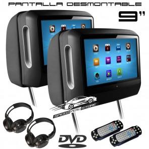 """Combo de Cabezales con Pantalla tactil desmontable de 9"""" con Lector de DVD/USB/SD marca XTRON (IMPORTACION 7D)"""