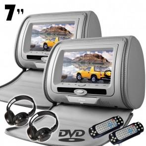 "Combo 2 Cabezales con pantalla de 7"" color gris con Lector de DVD + Juegos, USB SD (IMPORTACION 7D)"