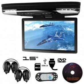 """Combo pantalla de techo 15"""" con Lector de DVD + Audifonos Inalambricos + Juegos +HDMI USB SD MARCA XTRON  (IMPORTACION)"""