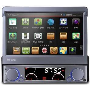 "Autoradio de ultima generacion 1DIN Universal con DVD, pantalla tactil motorizada de 7"" procesador de 4 Nucleos, GPS-BT-USB-SD-WIFI-Camara Retro (Importacion 7D) Android 4.4.4"