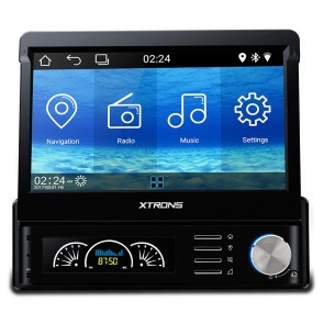 "Autoradio de ultima generacion 1DIN Universal SIN DVD, pantalla tactil motorizada de 7"" procesador de 4 Nucleos, GPS-BT-USB-SD-WIFI-Camara Retro (Importacion 7D) Android 5.1"