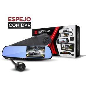 Combo Espejo Retrovisor con camara delantera DVR + camara posterior marca OZ TUNING modelo OZ-1194 (2 camaras)