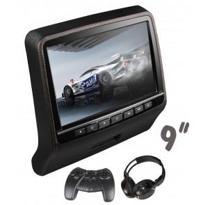 """01 Pantalla para cabezal (Táctil-Plana) de 9"""" con Lector de DVD + Audifono Inalambrico + Juegos, USB, SD,HDMI (IMPORTACION 7D)"""