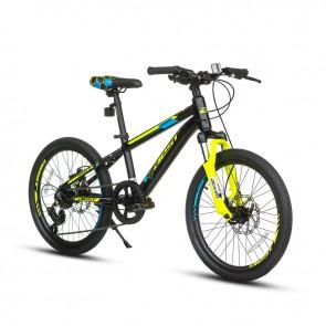 "Bicicleta Montañera BEST modelo LEGION aro 20"" Para Niños (Negro con Amarillo Neon) Aluminio"