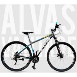 """Bicicleta Montañera ALVAS modelo VANTAGE aro 29"""" talla M (Gris con celeste)"""