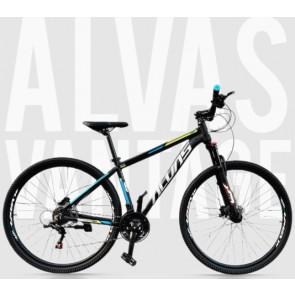 """Bicicleta Montañera ALVAS modelo VANTAGE aro 29"""" talla M (Negro con celeste)"""