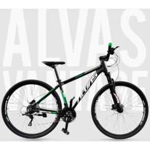 """Bicicleta Montañera ALVAS modelo VANTAGE aro 29"""" talla M (Negro con verde)"""