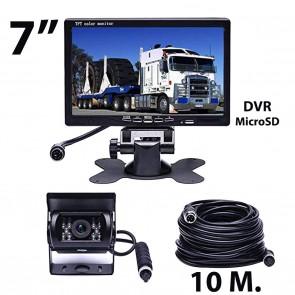 """Combo Camara de retroceso para camión o bus (24v) + Pantalla de 7"""" marca OZ TUNING (cable 10mts) con DVR"""