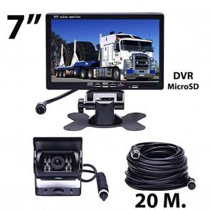 """Camara de retroceso para camión o bus (24V) + pantalla de 7"""" marca OZ TUNING (cable 20mts) con DVR"""