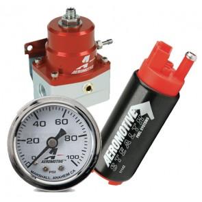 Combo AEROMOTIVE : Bomba de Gasolina de 340 lph + Regulador de presion con Reloj