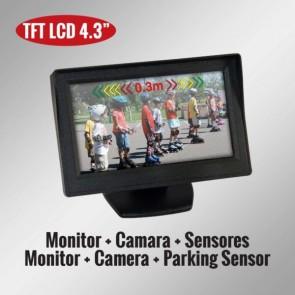 "Kit monitor retrovisor de 4.3"" + camara de retroceso + sensores marca GENIUS modelo G-VPS02-M43"
