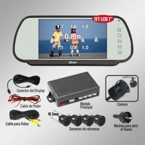 "Kit espejo retrovisor de 7"" + sensores + camara de retroceso  marca GENIUS modelo G-VPS03-RC7"