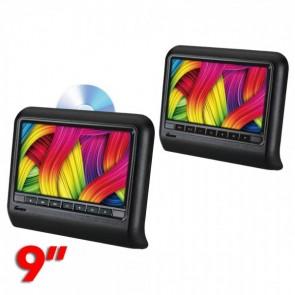 """Par de pantallas para cabeceras uno con dvd y el otro si dvd de 9"""" marca GENIUS modelo GMPC9-08KIT"""