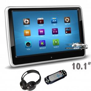 """01 Pantalla para cabezal Táctil-plana de 10.1"""" con Lector de DVD + Audifono Inalambricos + Juegos, USB, SD (IMPORTACION)"""