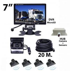 """Kit Sensores + Camara de retroceso para camión o bus (24V) + pantalla de 7"""" marca OZ TUNING (cable 20mts) con DVR"""