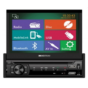 "Equipo DVD con pantalla motorizada de 7"" marca SOUNDSTREAM modelo VR-722HB (Bluetooth, USB, SD, DVD, MP3, MP4, HDMI)"