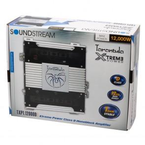 AMPLIFICADOR marca SOUNDSTREAM  modelo TXP1.12000D TARANTULA XTREME 12,000 WATTS 4300x1 (1ohm), 2300x1 (2ohm), 1300x1 (4ohm)